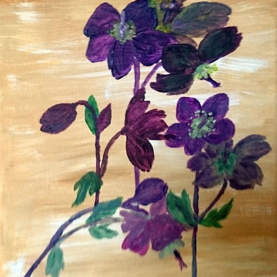 Lenzrose, 2020, Acryl auf Leinwand, 20 x 20 cm