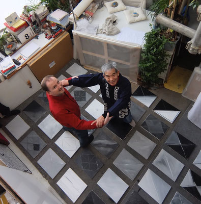 François-Xavier ALEXANDRE et Hachiro KANNO, installation dans l'ancien atelier de Pablo PICASSO, au Bateau-Lavoir à Montmartre (2014)