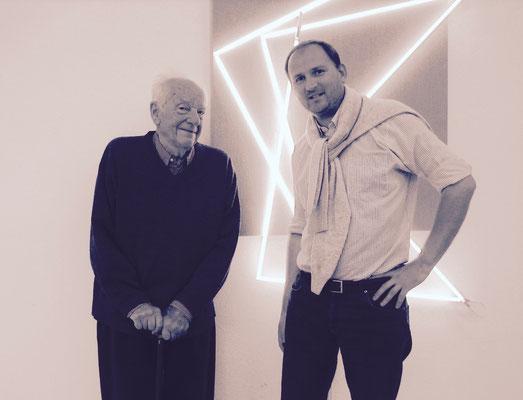 Avec François-MORELLET, maison-atelier de l'artiste, été 2011.