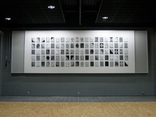 Polyptyque de 100 tableaux de François-Xavier ALEXANDRE, centre culturel de Baugé (CCRA, 2011)