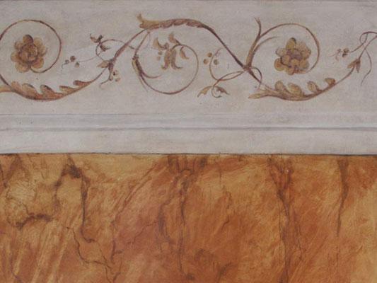 Eine Arabeske - ein Rankenornament aus Blättern und Blüten, ein Byzantinisches Ornament ziert diese gemalte Bordüre