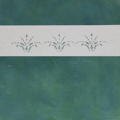 Schlichtes Motiv aus der Klassischen Antike umgestzt in starken Farbkontrasten. Dunkelgrün - Weiß