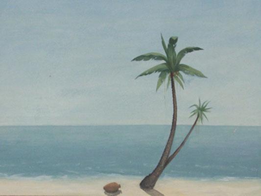 Dieses Wandbild mit einer Meerlandschaft und Palme bringt südländisches Flaire in das Zuhause