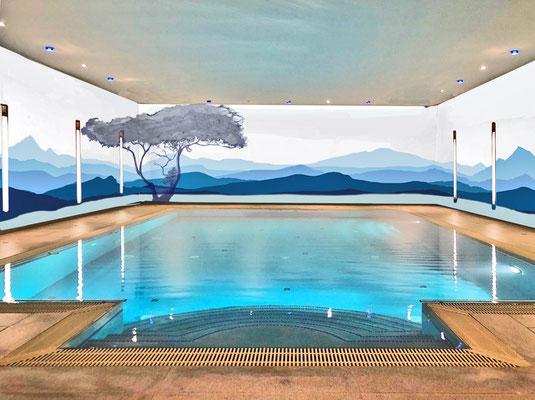 Entwurf für die Malerei mit Berglandschaft in einem Schwimmbad von Aliana Cesár