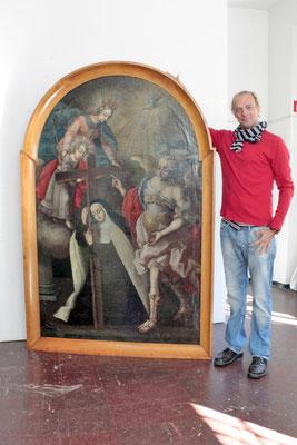 Das fertig restaurierte Gemälde kurz vor dem Rücktransport zu seinem gücklichen Besitzer