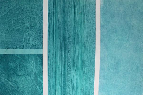 Muster in Acrylfarbe in den Techniken: Folientechnik, Zugtechnik, Wischtechnik, Schlichten (Muster aus Grundkurs 1)