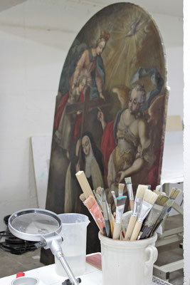 Die Restaurierung des Gemäldes ist nun fast beendet