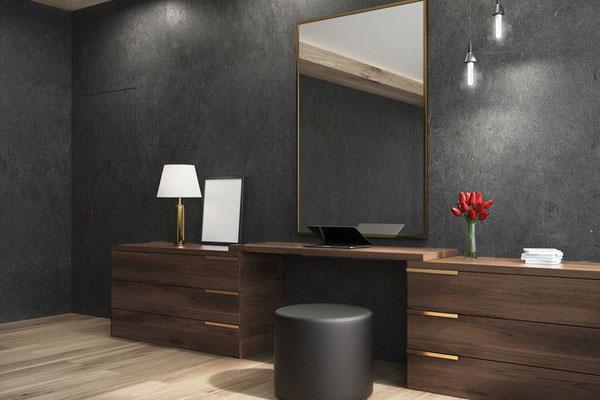 Spachteltechnik in einem Badezimmer in Antrazith Grau