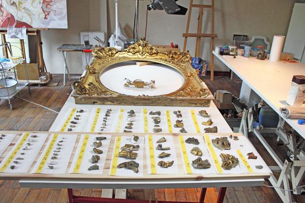 In unserer Restaurationswerkstatt wird der Rahmen begutachtet und ein Kostenvoranschlag für den Kunden angefertigt