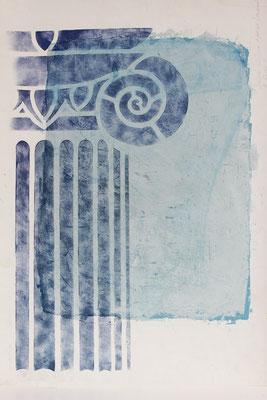 gemalte Römische Säule mit Kanneluren mit Hilfe der Schablonentechnik
