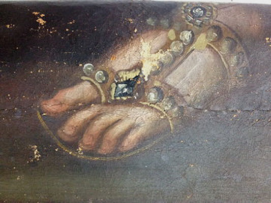 """Ausschnitt mit Schadstelle aus dem Gemälde """"Die Heilige Maria von Pazzi"""" vor der Restaurierung"""