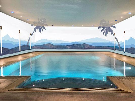 Entwurf für die Wandmalerei mit Palmen in einem Schwimmbad von Alina Cesár