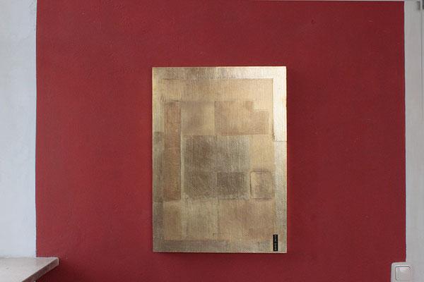 Vergoldetes Panel aus dem Malkurs Gold- Silber und Metalloberflächen