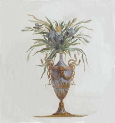 Detail einer Wandmalerei, eine antike Vase mit Blumenstrauß