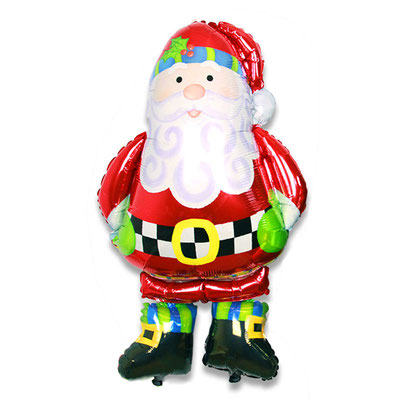3D фигура Дед Мороз-ходяшка (передвигается от легкого дуновения) выс. 100 см гелий 1300 р.