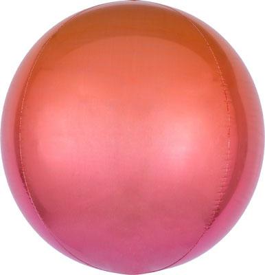3D сфера диаметр 40 см градиент красный/фуше воздух 150 р., гелий 310 р.