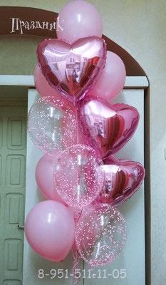 Шары 32 см с конфетти по 95 р. Сердечки по 125 р. Шары розовые по 58 р. без обработки.