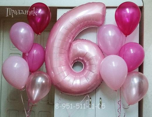 Цифры розовые пастель Grabo Италия. Воздух 390 р., гелий 600 р.