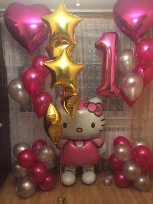 Hello Kitty ходяшка, 76 см х 127 см, гелий 1500 р.