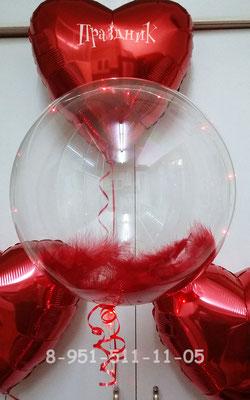 Полимерные шары со светодиодной гирляндой по 410 р. Наполнение перьями 60 р. Сердечко на грузике 135 р.
