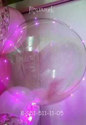 Полимерный шар 50 см со светодиодной гирляндой 615 р  Наполнение перьями 60 р.
