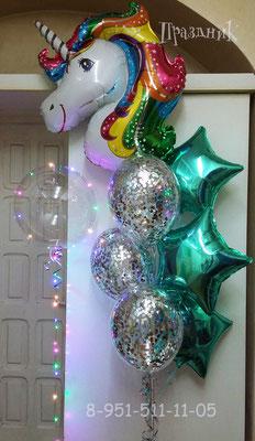 Полимерный шар 40 см со светодиодной гирляндой 480 р. Шары с конфетти по 100 р. Звезды по 125 р. Голова Сказочного Единорога 310 р.