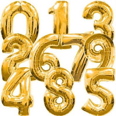 Цифры золотые выс. 86 см Flexmetal Испания. Воздух 420 р., гелий 630 р.