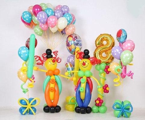 """Клоуны по 500 р., фонтан гелиевый """"Подарок"""" 530 р., стойка с цифрой 700 р., шары гелиевые по 45 р. с обработкой."""