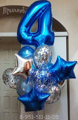 Цифры синие выс. 86 см Flexmetal Испания. Воздух 420 р., гелий 630 р.