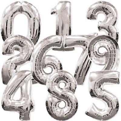 Цифры серебряные выс. 86 см Flexmetal Испания. Воздух 360 р., гелий 570 р.