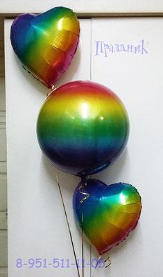 3D сфера диаметр 40 см радуга (градиент) воздух 360 р., гелий 480 р. Сердце радуга 45 см (градиент) воздух 65 р., гелий 115 р.