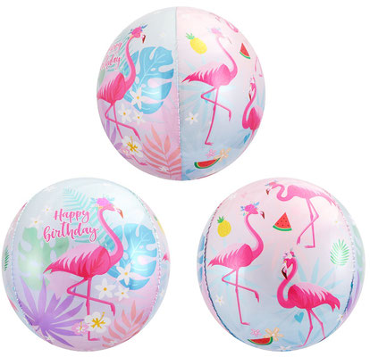 """3D сфера диаметр 40 см """"С днем рождения!"""" Фламинго воздух 200 р., гелий 360 р."""