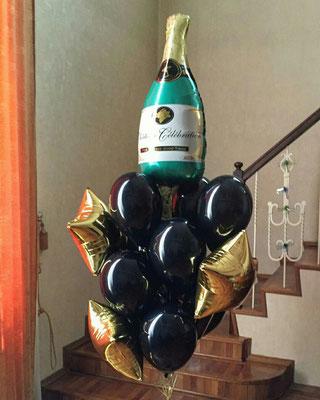 Бутылка шампанского 255 р., звездочки по 100 р., шары с обработкой по 47 р.