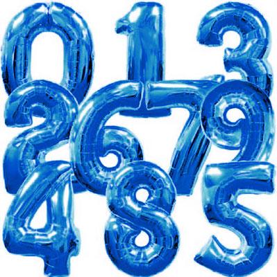 Цифры синие выс. 86 см Flexmetal Испания. Воздух 360 р., гелий 570 р.