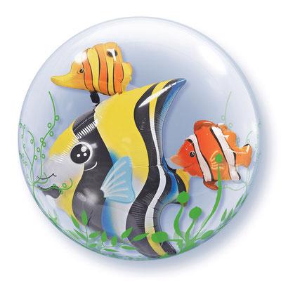 Фольгированный шар-рыбка в прозрачном круглом шаре из полимерной пленки с рисунком, идеально круглой формы диаметром 61 см воздух 570 р., гелий 800 р.