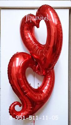 Сердце высота 75 см гелий 290 р.