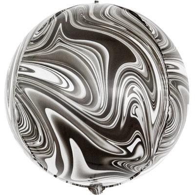 3D сфера диаметр 40 см мрамор черный, воздух 150 р., гелий 310 р.