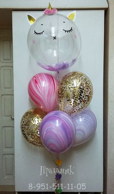 Прозрачная 3D сфера-единорожка 51 см с перьями 555 р.  Шары с конфетти по 100 р., шары-агаты Qualatex США по 106 р.,  Подвеска 1 м 60 р.