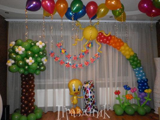 Украшение детского дня рождения (20 шаров с обработкой под потолок) со скидкой 5% 4430 р.
