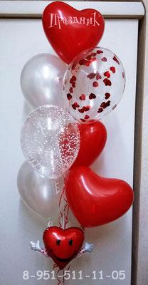 Шары с конфетти по 95 - 100 р. Шары жемчужные с обработкой по 65 р. Сердца красные латекс с обработкой по 55 р. Маленькое сердце для украшения композиций 46 р.