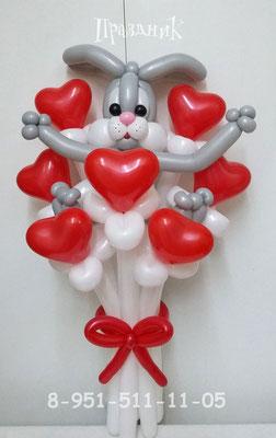 Заяц в букете сердец 450 р.