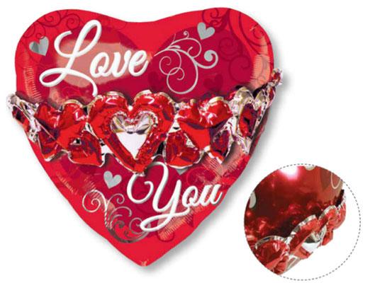 Сердце с венцом из сердец 65 см х 65 см воздух 490 р., гелий 660 р.