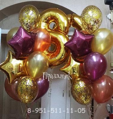 Гелиевые шары 32 см с обработкой по 47 р. Звездочки по 110 р. Шары с конфетти по 70 р. Цифры на грузиках по 460 р.