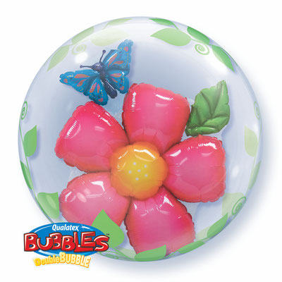 Фольгированный шар-цветок в прозрачном круглом шаре из полимерной пленки с рисунком, идеально круглой формы диаметром 61 см воздух 570 р., гелий 800 р.