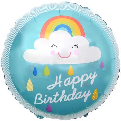 """Круг """"Облако и радуга. С днем рождения!"""" бирюзовый воздух 90 р., гелий 140 р."""