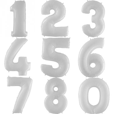Цифры белые пастель  Grabo Италия. Воздух 330 р., гелий 550 р.