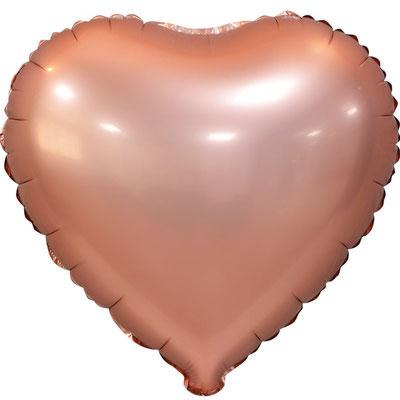Сердце 45 см сатин розовое золото 105 р. (пр-ва Китай Falali).