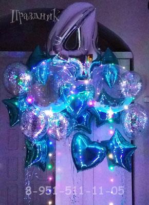 Полимерный шар 40 см со светодиодной гирляндой 480 р  Наполнение перьями 60 р.