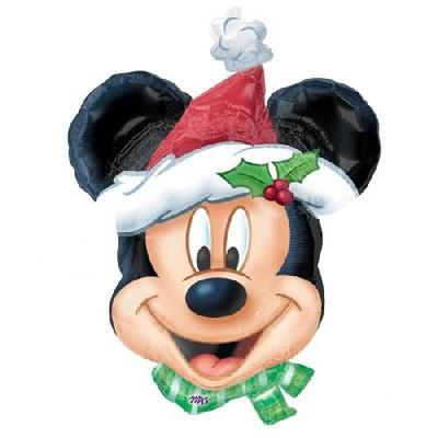 Голлова Микки в новогодней шапке воздух 260 р, гелий 410 р.