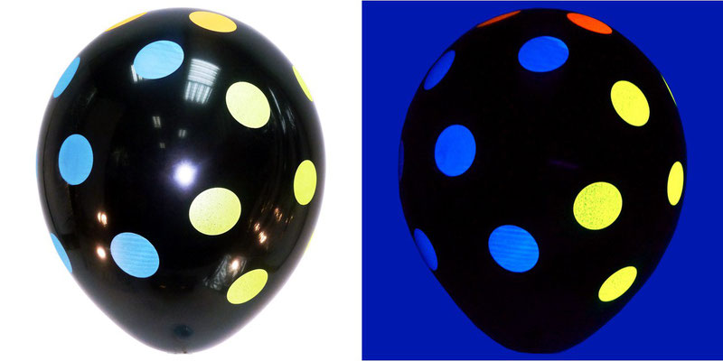 Sempertex ( Колумбия ) 32 см 70 р. Шары с флуоресцентным рисунком. Светятся при ультрафиолете.